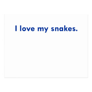 I love my snakes postcard