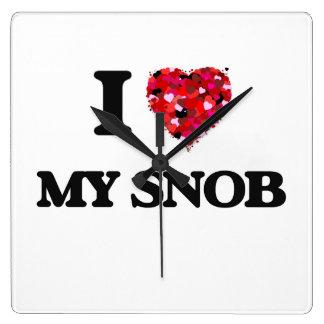I love My Snob Square Wallclocks