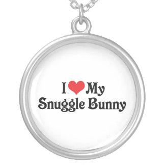I Love My Snuggle Bunny Round Pendant Necklace