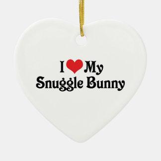I Love My Snuggle Bunny Double-Sided Heart Ceramic Christmas Ornament