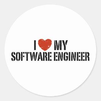 I Love My software Engineer Round Sticker
