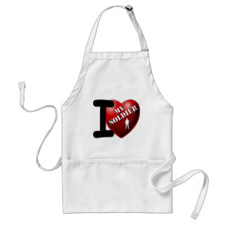 I Love My Soldier Adult Apron