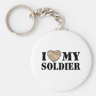 I Love My Soldier Basic Round Button Keychain