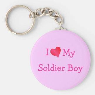 I Love My Soldier Boy Basic Round Button Keychain