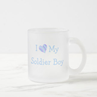I Love My Soldier Boy Frosted Glass Coffee Mug