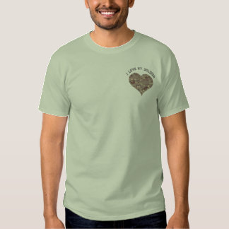 I Love My Soldier Camouflage Heart Embroidered T-Shirt