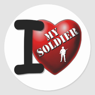 I Love My Soldier Classic Round Sticker