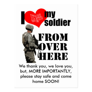 "I Love My Soldier ""Come home SOON"" Postcard"