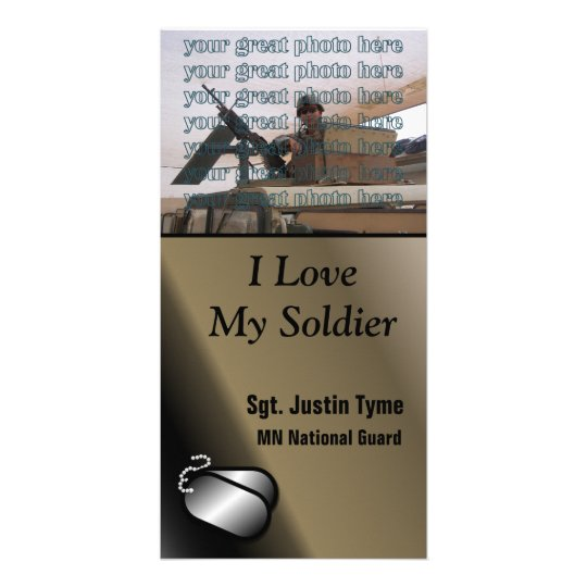 I Love My Soldier Custom Photo Military Card
