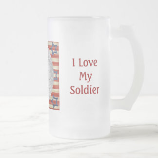 I Love My Soldier Custom Photo Personalized 16 Oz Frosted Glass Beer Mug