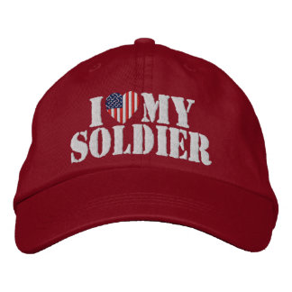 I Love My Soldier Embroidered Hat (Red)