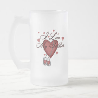 I Love My Soldier Frosted Glass Beer Mug