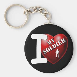 I Love My Soldier Keychain