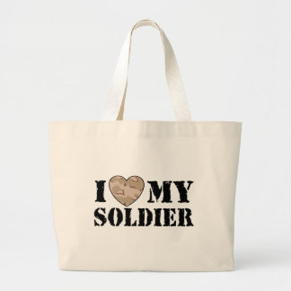 I Love My Soldier Large Tote Bag