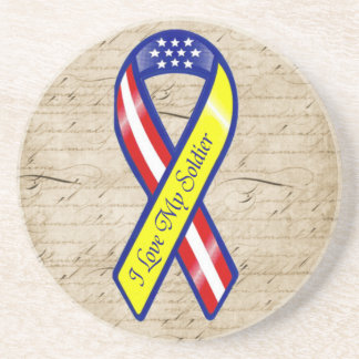 I Love My Soldier Military Love Letters from Home Sandstone Coaster