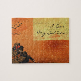 I Love My Soldier Military Love Note On the Wall Jigsaw Puzzle