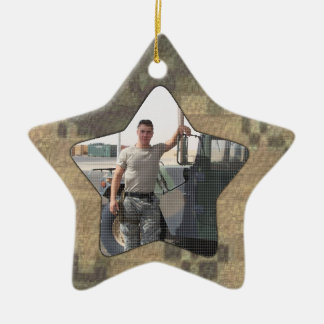I Love My Soldier Military Personalized Photo Camo Double-Sided Star Ceramic Christmas Ornament