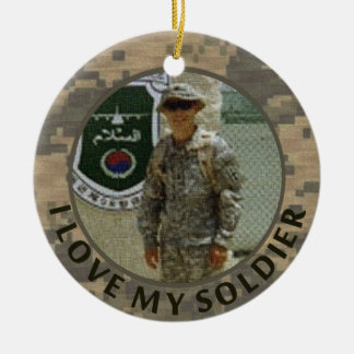 I Love My Soldier Military Photo Customizable Double-Sided Ceramic Round Christmas Ornament