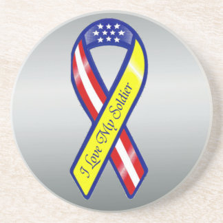 I Love My Soldier Military Yellow Ribbon Patriotic Drink Coaster