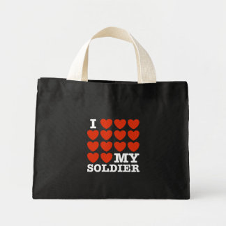 I Love My Soldier Mini Tote Bag