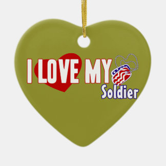 I Love My Soldier Double-Sided Heart Ceramic Christmas Ornament