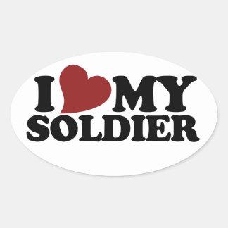 I love my soldier oval sticker