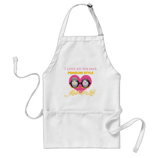 I Love My Soldier Penguin Style Adult Apron