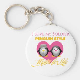 I Love My Soldier Penguin Style Basic Round Button Keychain