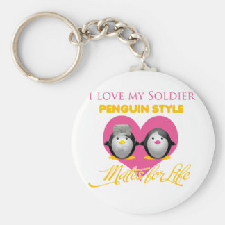 I Love My Soldier Penguin Style Keychain