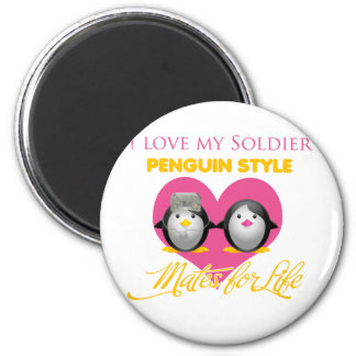 I Love My Soldier Penguin Style Magnet