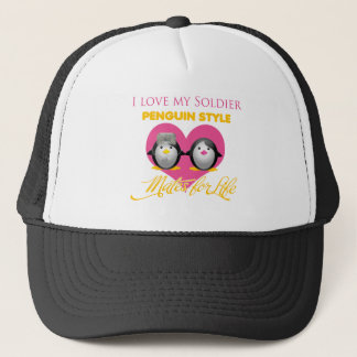 I Love My Soldier Penguin Style Trucker Hat