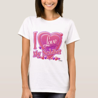 I Love My Soldier pink/purple - heart T-Shirt