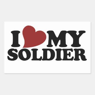 I love my soldier rectangular sticker
