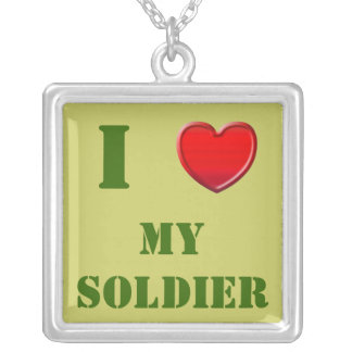 I Love My Soldier Square Pendant Necklace