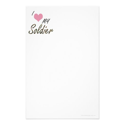 I love my soldier stationery design