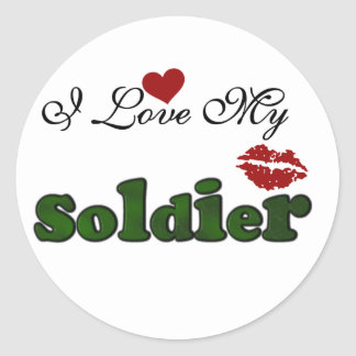I Love My Soldier Tshirts and Gifts Classic Round Sticker