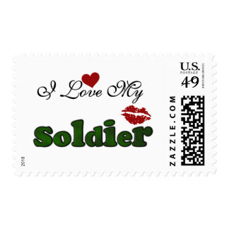 I Love My Soldier Tshirts and Gifts Stamp