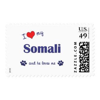 I Love My Somali (Male Cat) Stamps