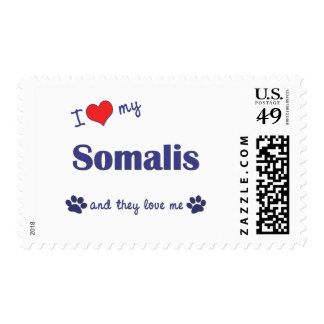 I Love My Somalis (Multiple Cats) Postage Stamp