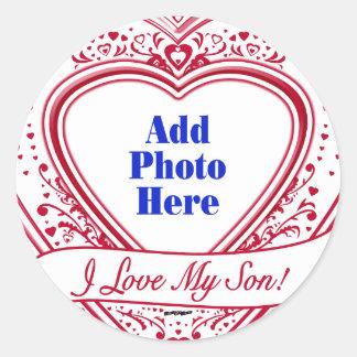 I Love My Son! Photo Red Hearts Classic Round Sticker