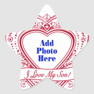 I Love My Son! Photo Red Hearts Star Sticker