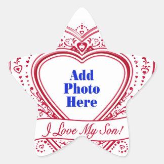 I Love My Son! Photo Red Hearts Star Sticker