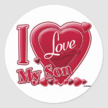 """I Love My Son red - heart Classic Round Sticker<br><div class=""""desc"""">I Love My Son red - heart</div>"""