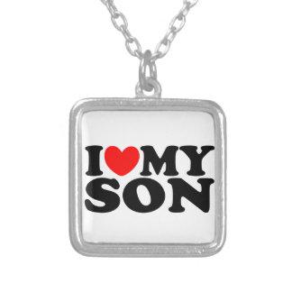 I Love My Son Square Pendant Necklace