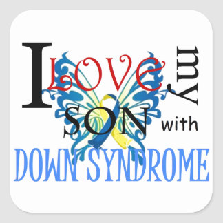 I Love My Son with Down Syndrome Square Sticker
