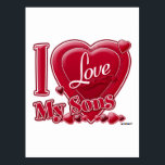"""I Love My Sons red - heart Postcard<br><div class=""""desc"""">I Love My Sons red - heart</div>"""