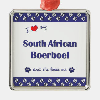 I Love My South African Boerboel (Female Dog) Christmas Ornaments