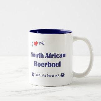 I Love My South African Boerboel (Female Dog) Two-Tone Coffee Mug