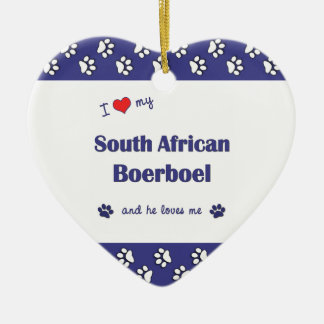 I Love My South African Boerboel (Male Dog) Christmas Tree Ornament