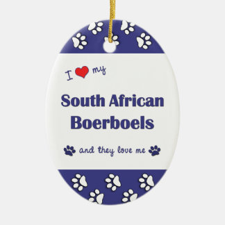 I Love My South African Boerboels (Multiple Dogs) Christmas Tree Ornament